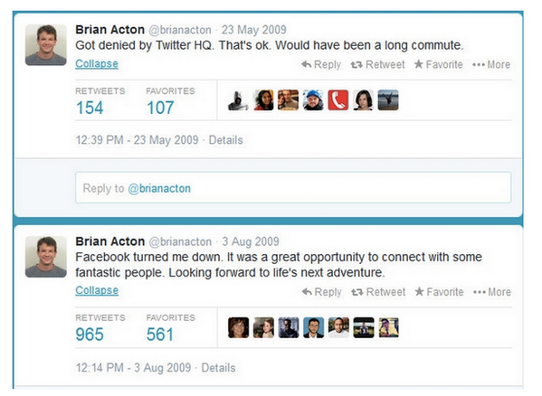 Brian Acton of WhatsApp Twitter Posts