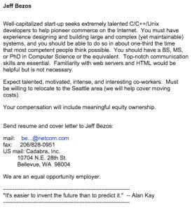 Amazon's Jeff Bezos Job Posting