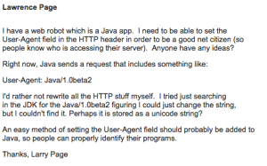 Larry Page asking a question about Java.