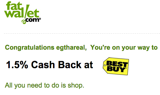 Cash back at Best Buy
